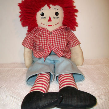 Vintage Raggedy Andy Rag Doll Classic Retro Cloth Toy Handmade 1970s