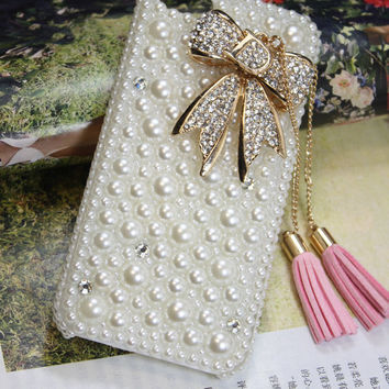 Charms Lovely Gilding Bowknot Tassel Chain Pearl Rhinestone Blingbling  Phone Case For AT&T Samsung Galaxy S 2 II S2 Skyrocket i727