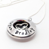 mothers necklace - personalised locket - clamshell necklace - hand stamped necklace - mom - mum Mother's Day gift