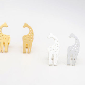 Giraffe Earrings, double giraffe earrings, silver giraffe earrings, gold giraffe earrings, animal earrings, vintage earrings, boho earrings