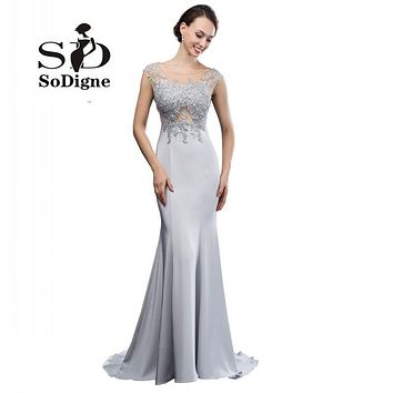 Sliver Satin Evening Dresses Mermaid 2017 High Quality Lace Appliques Long Prom Party Dress Vestido Longo Formatura Rhinestones