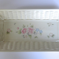 Pfaltzgraff Tea Rose Rectangular Platter Wicker Border