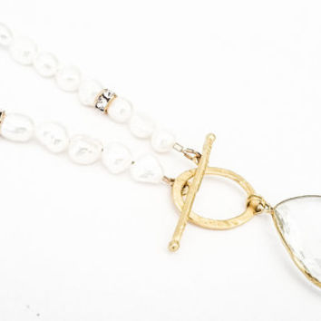 White Pearls Rock Crystal Clear Quartz Gold Tear Drop Dangle Charm Long Toggle Necklace Free USA Shipping