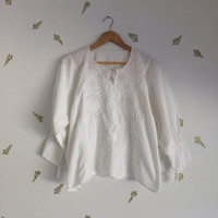 vintage mexican top / white crinkly cotton / floral embroidery / tassles / long sleeved blouse / beach
