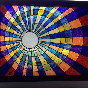Retro Sun, Geometric Original Painting, stained glass look