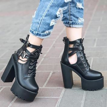 Platform Buckle Strap Lace Up Leather Sandals Boot
