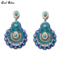Vintage Bohemian Earrings For Women 2016 Tibetan Jewelry Retro Imitation Pearl Big Earrings Indian Ethnic Chandelier Earrings