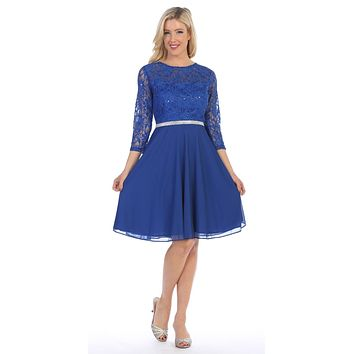 Royal Blue Quarter Sleeves Lace Knee-Length Wedding Guest Dress