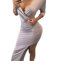 Oblique Hem Bodycon Dress Sexy 34 Quarter Black Long Sleeve Dress Party Long Asymmetric Maxi Dress SM6