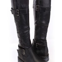 Black Faux Leather Buckle Accent Riding Boots