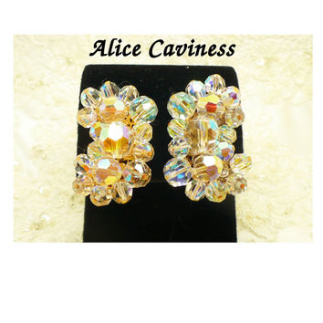 Designer Alice Caviness Aurora Borealis AB Crystal Earrings, Clip On Ear Climber Bridal Ear Hugger Bridesmaid Jewelry Pageant Prom Formal