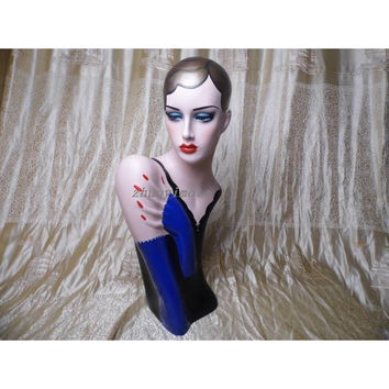 Female Fiberglass Mannequin Head With Hand Painted Hair / Hat Stand