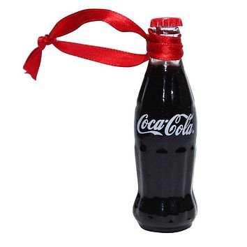 Authentic Coca-Cola Coke Mini Bottle Painted Christmas Ornament New with Tags
