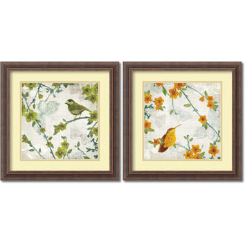 Amanti Art DSW950758 Birds and Butterflies - Set by Tandi Venter: 18.25 x 18.25 Print Reproduction