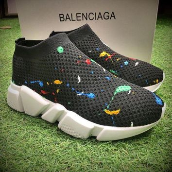 ONETOW Best Online Sale Fashion Balenciaga Speed stretch-knit Mid Black White Socks Sh