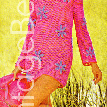 EASY CROCHET Beach Mini DRESS with Blooms 1970s Vintage Crochet Pattern flowers coverup cover-up shift-dress Resort Vacation Everyday fun
