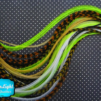 12 Strands - JEWEL MIX Thin Long Grizzly Rooster Feathers