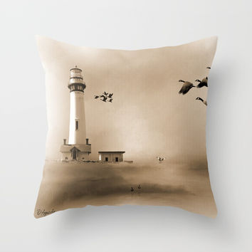 Lighthouse Bay Throw Pillow by Theresa Campbell D'August Art