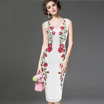 Womens Elegant Vintage V Neck Lace Flower Printed Work Office Casual Bridemaid Mother of Bride Evening Party Dress 326