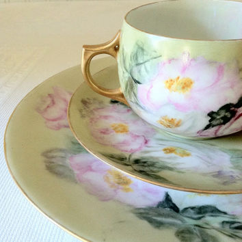 Antique Limoges France/Hand-Painted Tea Cup, Saucer and Dessert Plate Trio/Elegant Tea Party/Bridal Gift