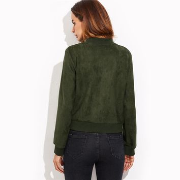 Olive Green Suede Hidden Zip Bomber Jacket