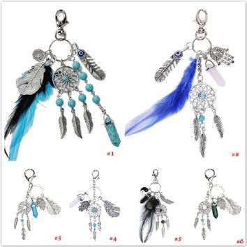 6 Styles Natural Opal Stone Dream Catcher Key Chain