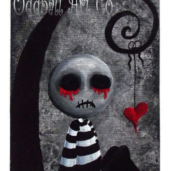 Gothic Art Print Signed Big Juicy Tears of Blood & Pain No. 2 by Lizzy Love apprx 12x18 ( Fantasy Reproduction Dark Emo Spooky Lowbrow )