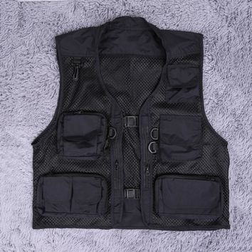 Size M-XXL Men's Spring Summer Outdoor Vest Tops Travel Hiking Fishing Photography Mesh Fishing Vest Men Pockets Jacket