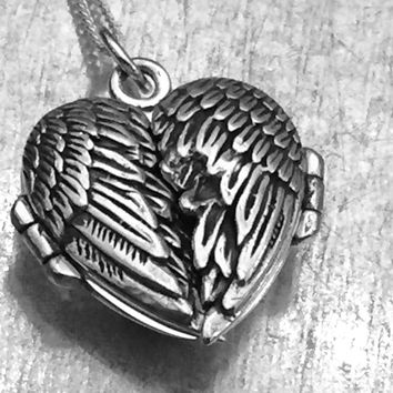 Sterling Silver Winged Locket Heart Necklace, I have fallen in love many times....Always with you Locket