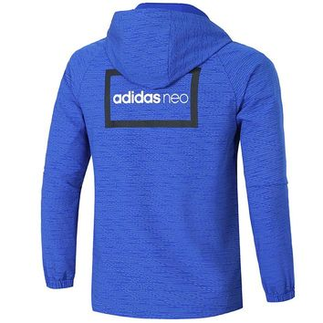 ADIDAS autumn new hooded sports trench coat sunscreen waterproof jacket Blue