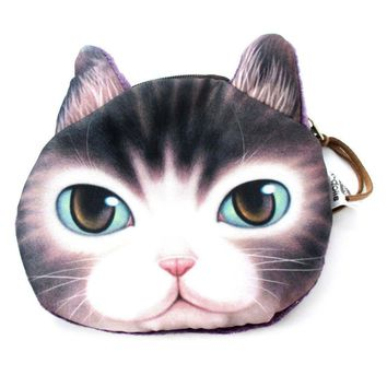 Adorable Kitty Cat Face Shaped Soft Fabric Zipper Coin Purse Make Up Bag with Green Eyes