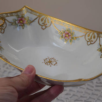 vintage dish bowl shabby chic flowers gold trim antique 1910s to 1920s