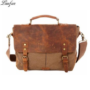 Men Vintage Canvas Messenger bag soft Crazy horse leather cowhide shoulder bags big school travel bag with hasp male handbags