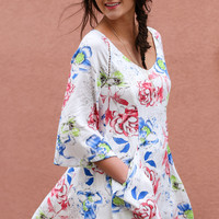 Endless Envy Ivory Floral Print A-line Long Sleeve Dress With Side Pockets
