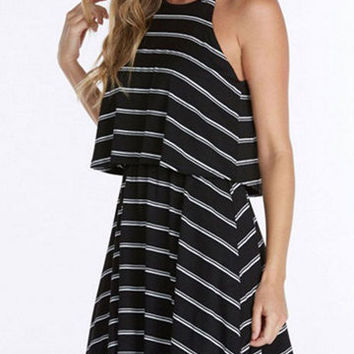 Black Vertical Pinstripe Back Tie Mini Dress