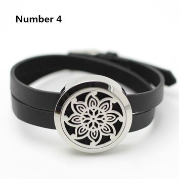 5 Styles, 2 Sizes:  Aromatherapy Diffuser Locket Black Leather Wrap Bracelet