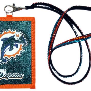 Miami Dolphins Beaded Lanyard Wallet