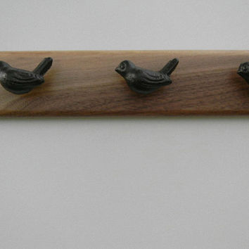 "Jewelry Organizer Rack Walnut with Six Bird Knobs Accessory Holder 24 ""W"