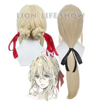Violet Evergarden Long Ponytail Braid Bun Bangs Blonde Cosplay Full Wig free bow