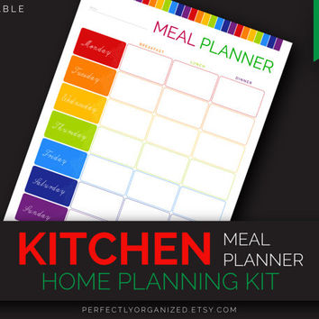 Meal Menu Planner, Meal Planning Plan, Weekly Menu, Weekly Meal Planner // Colorful, Planner Organizer DIY // Household PDF Printables