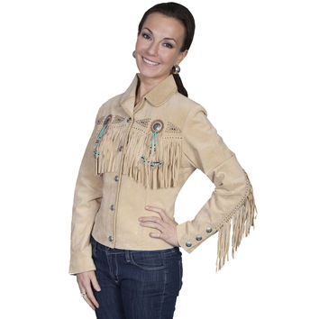 Scully Womens Leather Fringe Beaded Western Lined Jacket Chamois