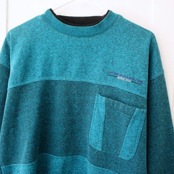 80's 90's Teal Blue Bugle Boy Sweater
