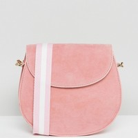 Glamorous Suedette Saddle Bag in Pink at asos.com