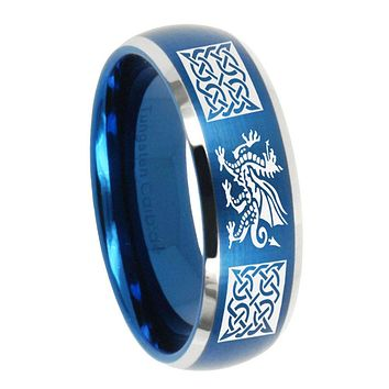 10mm Multiple Dragon Celtic Dome Brushed Blue 2 Tone Tungsten Carbide Mens Ring