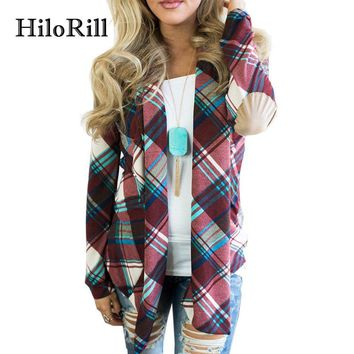 HiloRill Casual Plaid Cardigan Women 2018 Loose Autumn Knitted Sweater Long Sleeve Cardigans Feminino Jumper Jacket Outwear Coat