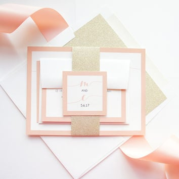 Peach and Gold Wedding Invitation - SAMPLE SET