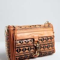 Rebecca Minkoff almond and black ikat woven leather