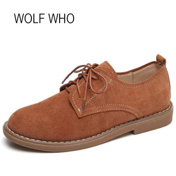 WOLF WHO 2018 Spring Women Suede Shoes leather Oxfords Fashion Sneakers Women Flats Tenis Femininos Casual H-175