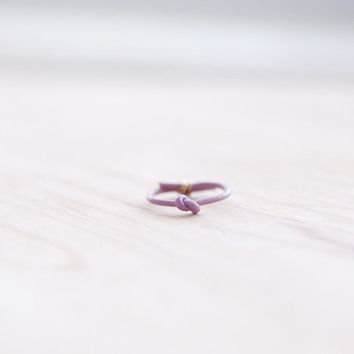 lilac leather knot ring with gold or sterling silver detail, stacking, simple leather ring, infinity knot novelty ring, boho statement ring