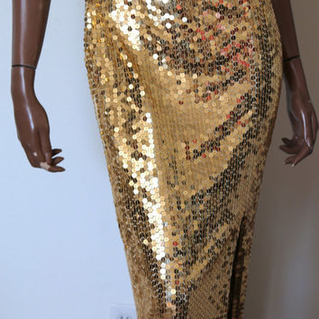 Sequin Gold Vintage Party Cocktail Long Dress Evening Gown